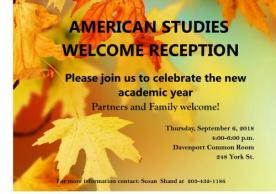Welcome Reception, Thurs, Sept 6 at 4pm